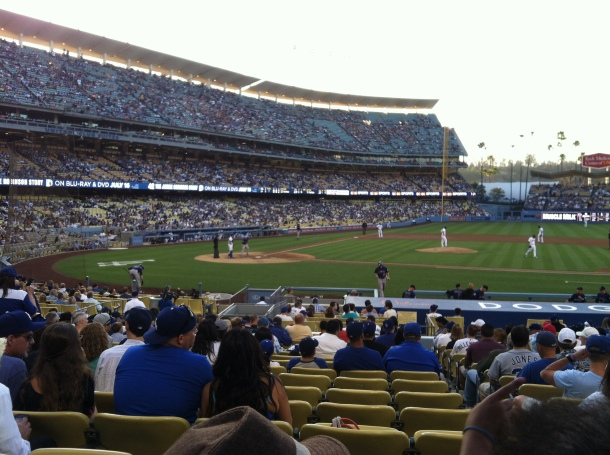 We went to a Dodger game.