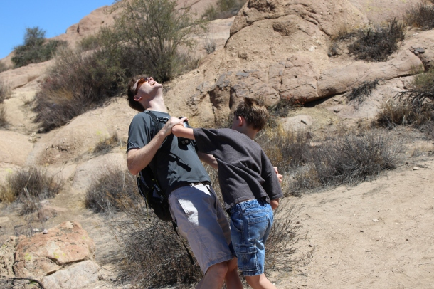 The boys reenacted the fight between Kirk and the Gorn.