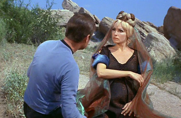 "McCoy and an alien woman in ""Friday's Child"""