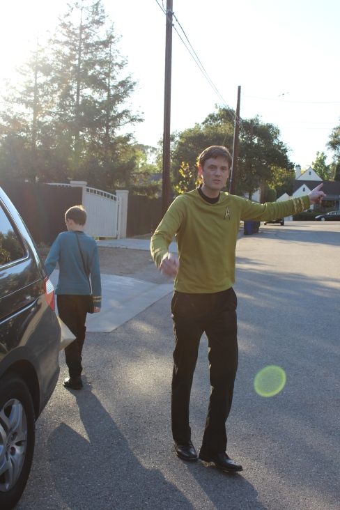 The boys wore Trek costumes.
