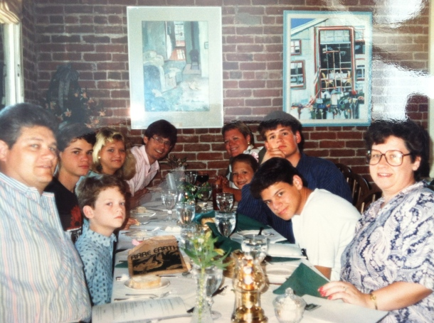 One of our trips to Ashland with the Halligans - Left side - my dad, Jeff, Terry, me, Pat. Right side Mom, Matt, Chris, Tori, Marcia.
