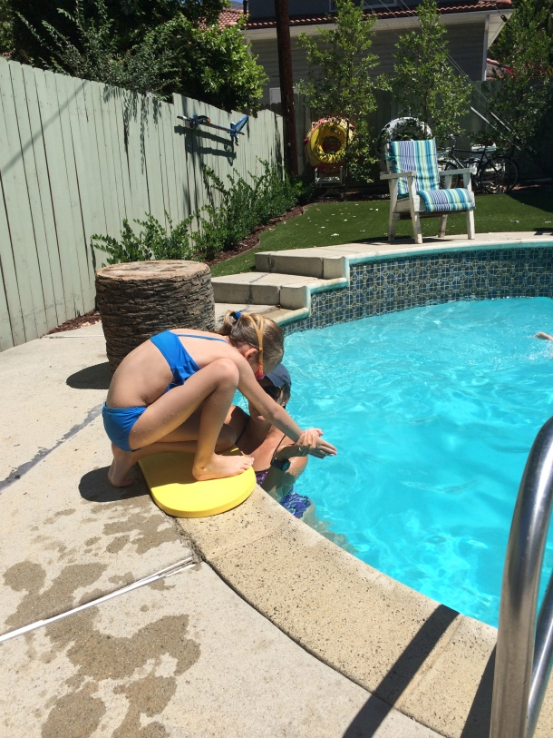 My youngest, learning to dive.