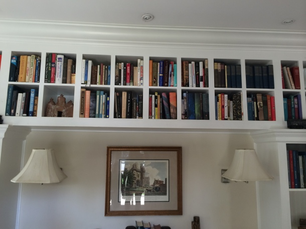 We went to an open house for fun. I loved these high bookshelves in the front room.