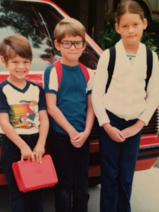 2 of my brothers and me on the first day of school, circa 1980.