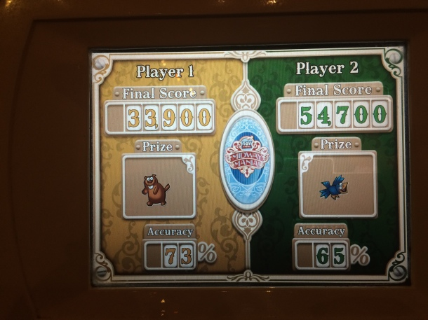 First time on Midway Mania - our scores. (not very good, but fun)