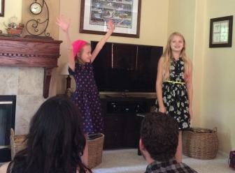 My girls, doing improv on Thanksgiving.