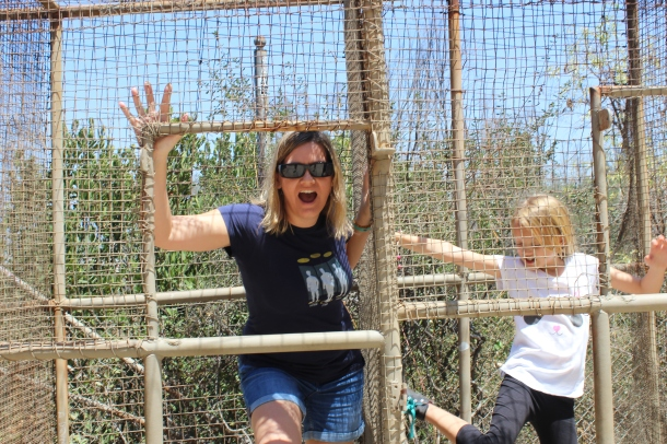 Even Mommy got in a cage.