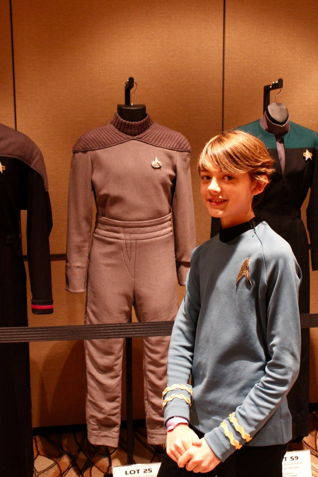 My son with Wesley Crusher's costume.